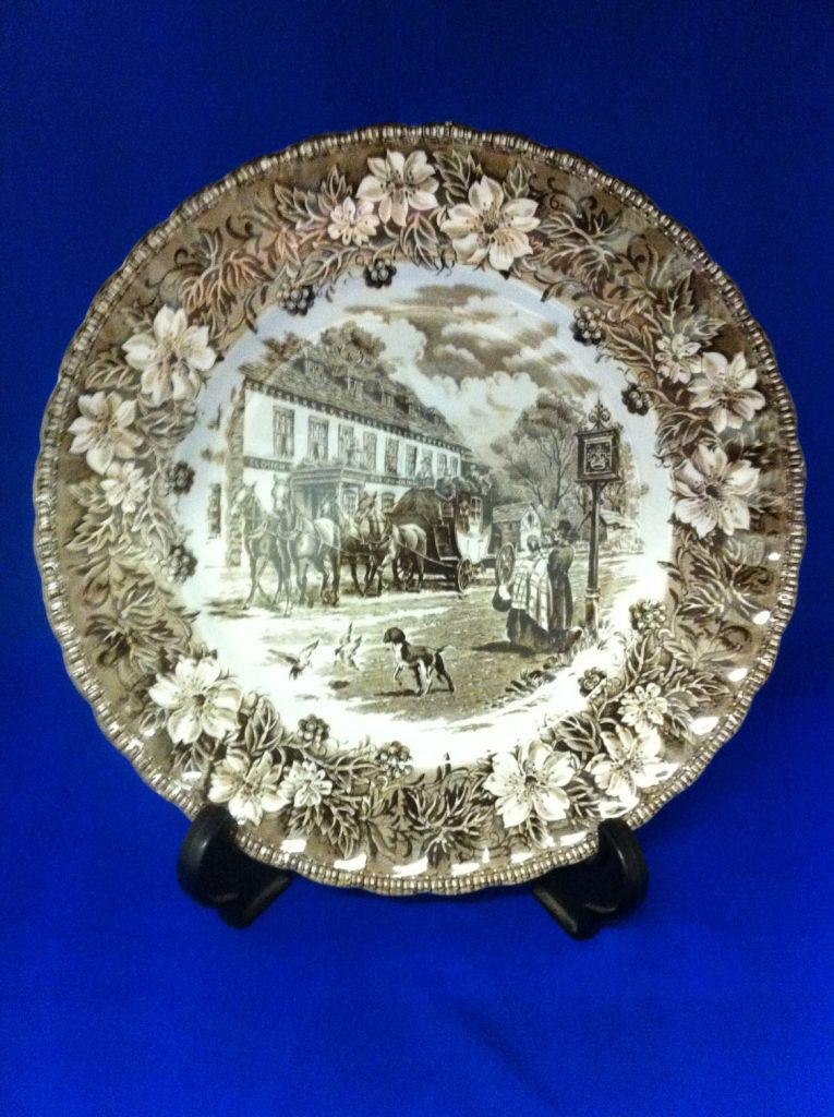 Royal Tudor ware ' Coaching Tavern ' dinner plate /Brown
