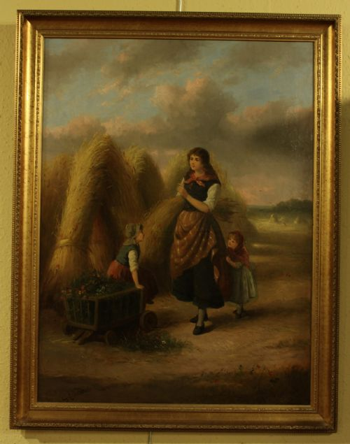 A LARGE FRENCH OIL ON CANVAS BY EUGENE COURTEILLE